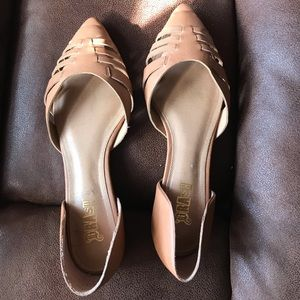 Tan leather flats